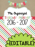 Teacher Planner - Editable Shabby Chic Planner with Yearly