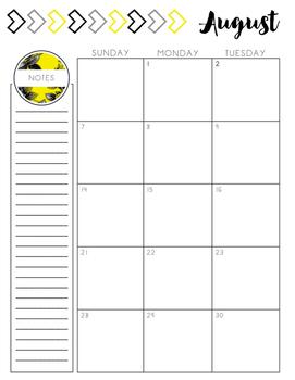 Teacher Planner // Yellow Floral - PRINTABLE AND EDITABLE