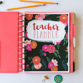 Teacher Planner // Pink Floral - PRINTABLE AND EDITABLE