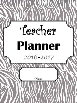 Editable Teacher Planner- Zebra Design with Black, White, and Grey Pages