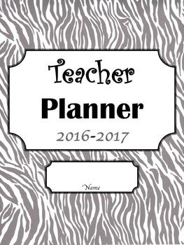 Editable Teacher Planner- Zebra Design with Black, White,
