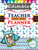 Teacher Planner and Calendar 2018-2019 (Colorful and Black