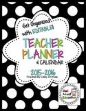 Teacher Planner and Calendar  - Editable! {Black and White Polka Dot}