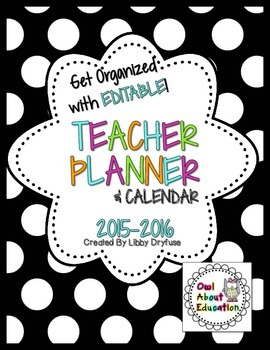 Teacher Planner and Calendar  - Editable! {Black and White Polka Dot}