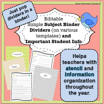 Editable Subject Binder Dividers for Stencil Binder and Important Student Info