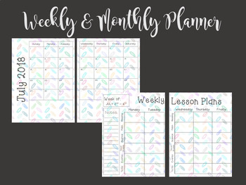 Editable Teacher Planner (Watercolor School Supplies)