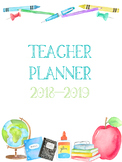 Teacher Planner and Toolkit (Watercolor School Supplies)