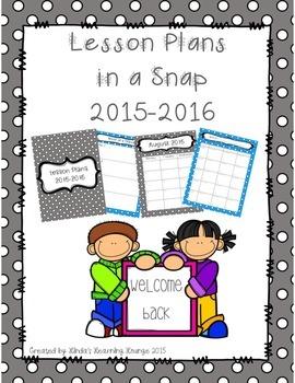 Teacher Planner for 2015 – 2016 School Year ~ 2 different sets