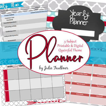 Teacher Binder Planner Calendar, Secondary Teacher with Three Preps, Quatrefoil