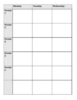 Teacher Planner - horiz. week