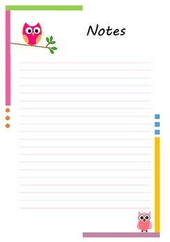 Teacher Planner notes page