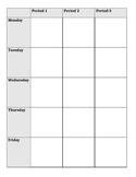 Teacher Planner - vertical week