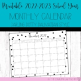Teacher Planning - 1-Page Monthly Calendar for 2020-2021 SY
