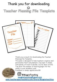 Teacher Planning File Template