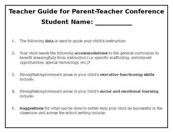 Teacher Planning Guide for Parent Teacher Conference (for teachers)