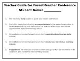 Teacher Planning Guide for Parent Teacher Conference (for