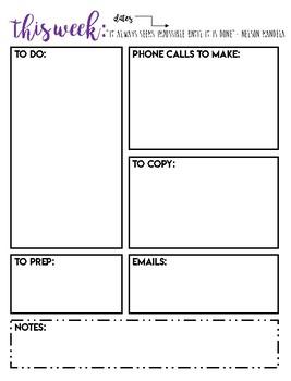 Teacher Planning Page: A Peek at the Week Printable