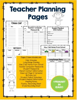 Teacher Planning Pages