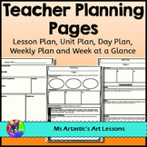 FREE Teacher Planning Pages: Unit Plan, Lesson Plan, Weekly Plan, Day Plan