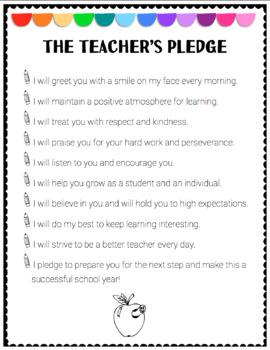 Teacher Pledge to Students (EDITABLE)