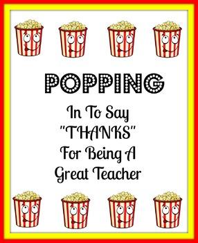 Teacher Popcorn Thank You Card