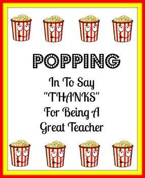 Teacher Popcorn Thank You Card
