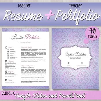 Teacher Resume + Teacher Portfolio for interview templates - Editable