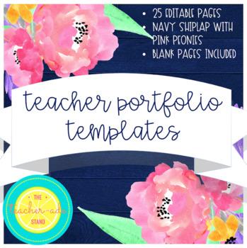 Teacher Portfolio Templates Navy Shiplap