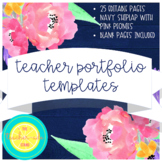 Teacher Portfolio Templates: Navy Shiplap