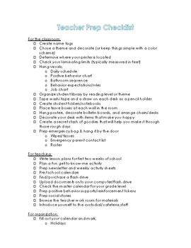 First Week Teacher Prep Checklist