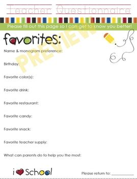 Teacher Questionnaire For Gifts - Back to School - All About My Teacher