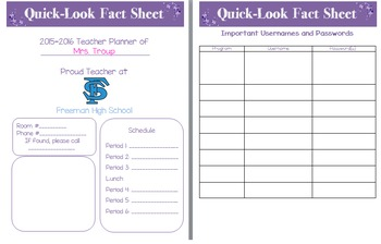 Teacher Quick Fact Sheet for Teacher Planner