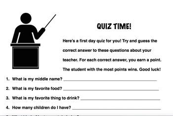 Teacher Quiz: Beginning of Year Icebreaker Activity