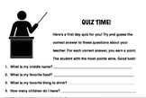 Teacher Quiz: Beginning of Year Icebreaker Activity