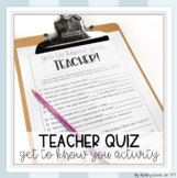Teacher Quiz First Day Activity