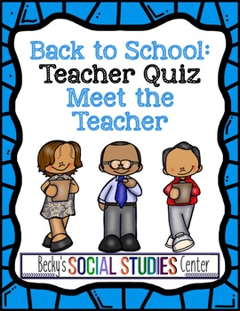 Back to School: Meet the Teacher Activity
