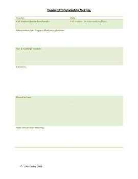 Teacher RTI Consultation Record