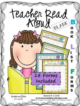 Teacher Read Aloud Blank Book List Forms