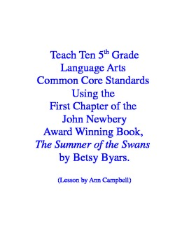 Teacher Read-Aloud First Chapter of Summer of the Swans to Test Eleven CCSS