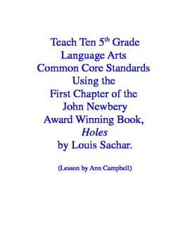 Teacher Read-Aloud of First 3 Chapter of Holes and Test Eleven CCSS