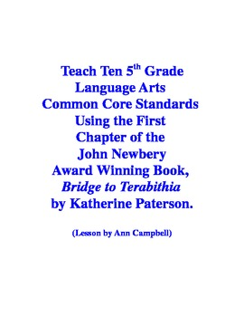 Teacher Read-Aloud of First Chapter of Bridge to Terabithia and Test Eleven CCSS