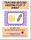 Teacher Record Keeping Post It Sheet