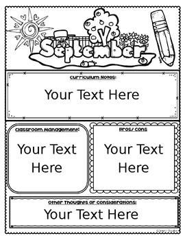 Teacher Reflection Self Evaluation Journal Monthly Editable