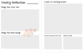 Teacher Reflection Planner (Ocean Theme)