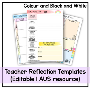 teacher reflection templates daily and weekly tpt