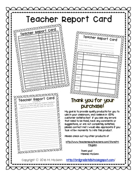 Teacher Report Card