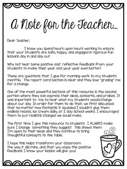 Teacher Report Card & Student Reflections