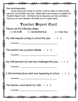 Teacher Report Card (for Parents to Complete)