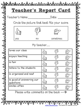 Teacher Report Card for Elementary Students