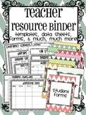 Teacher Organization Resource Binder {Templates, Data Shee